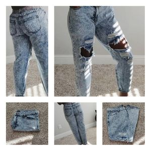 Distressed Acid Washed Boyfriend Jeans